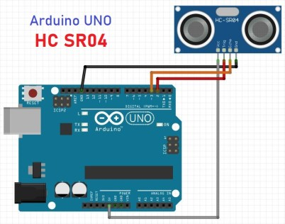Arduino HCSR04 vue schématique