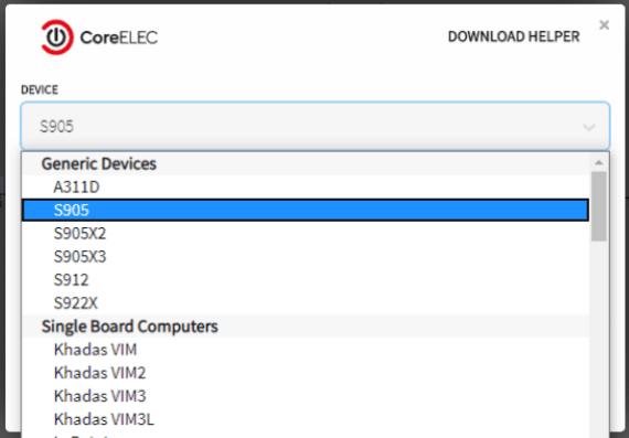 CGV install CoreElec