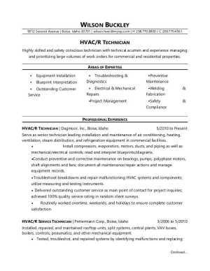 HVAC Technician Resume Sample   Monster