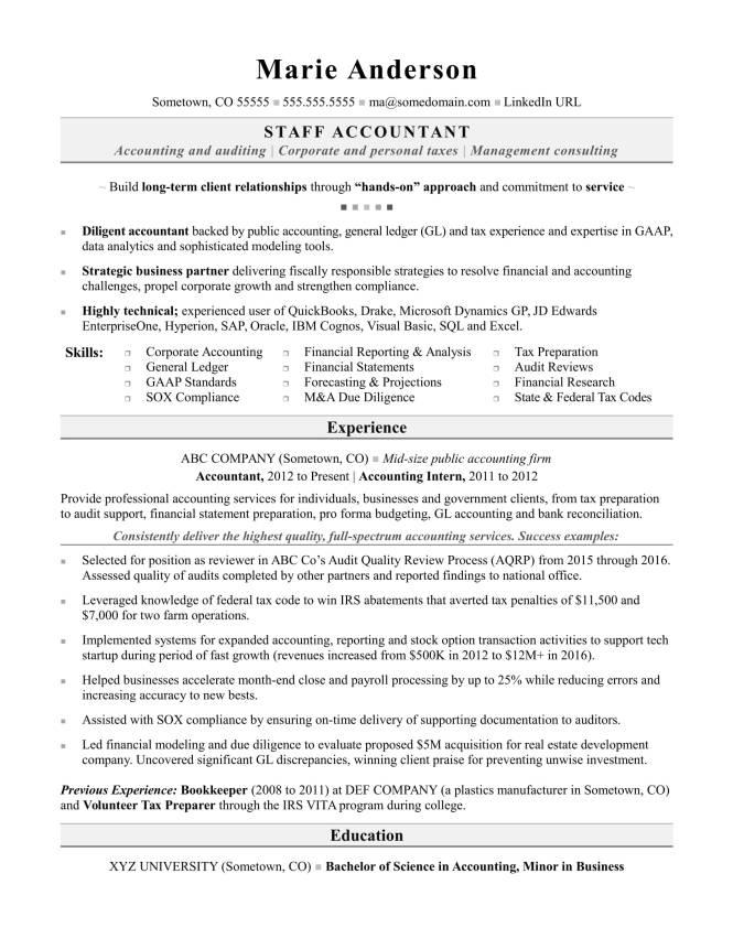 Experienced Accountant Resume Resume Sample