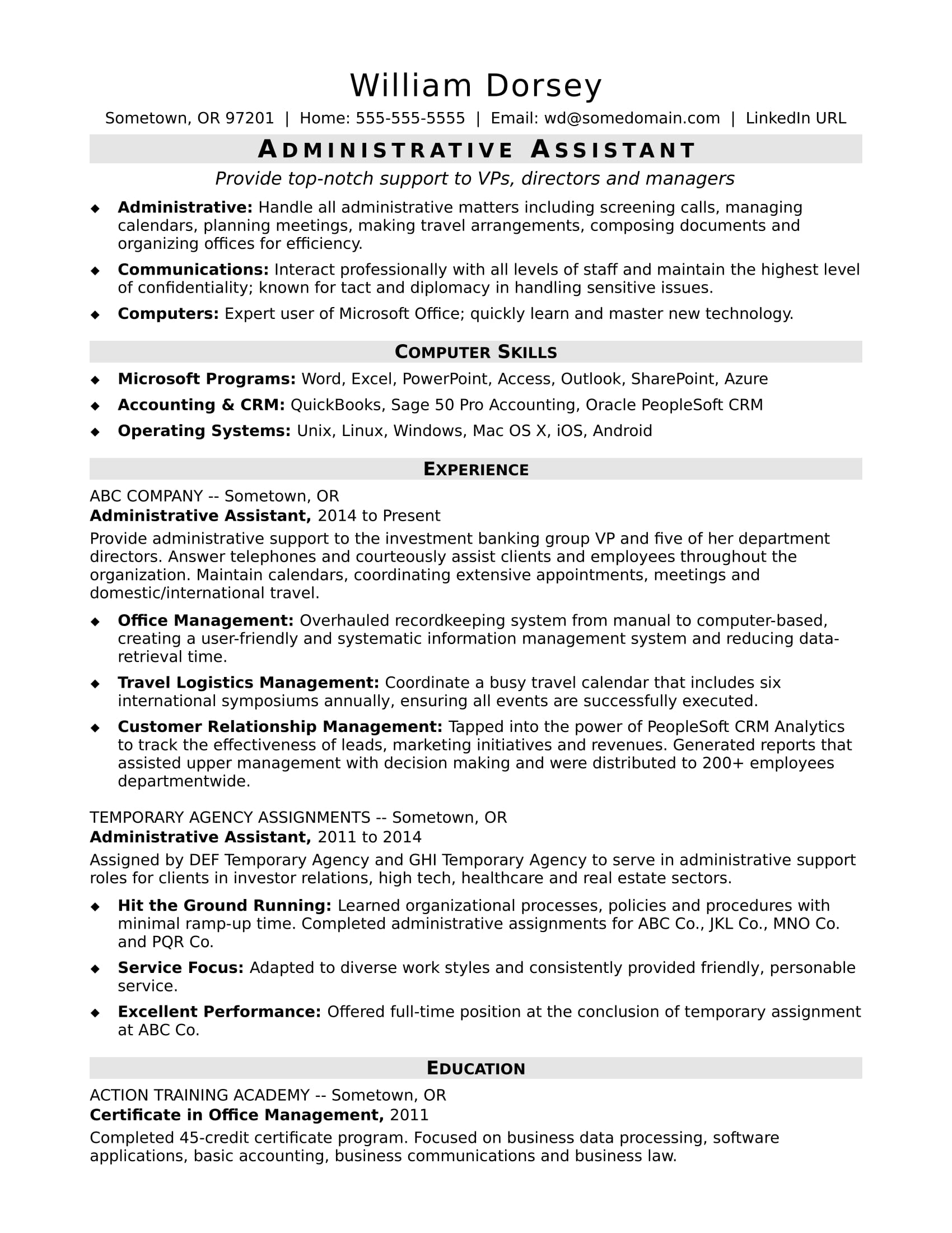05/01/2021· because office assistants have a key role in producing clear communications on behalf of their colleagues, it's especially important for office assistant resumes to be clear and free of errors. Midlevel Administrative Assistant Resume Sample Monster Com