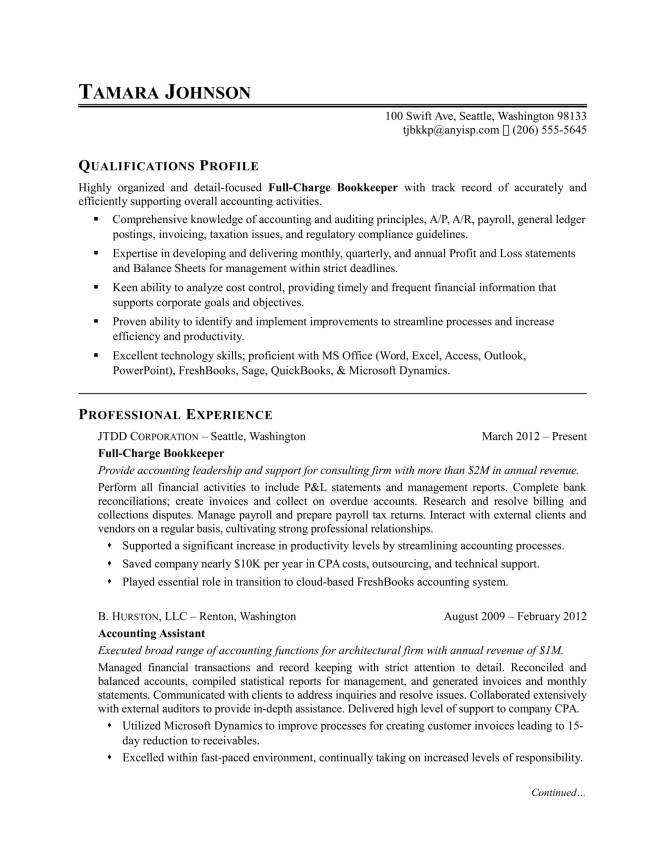 Bookkeeper Resume Examples  Resume Sample