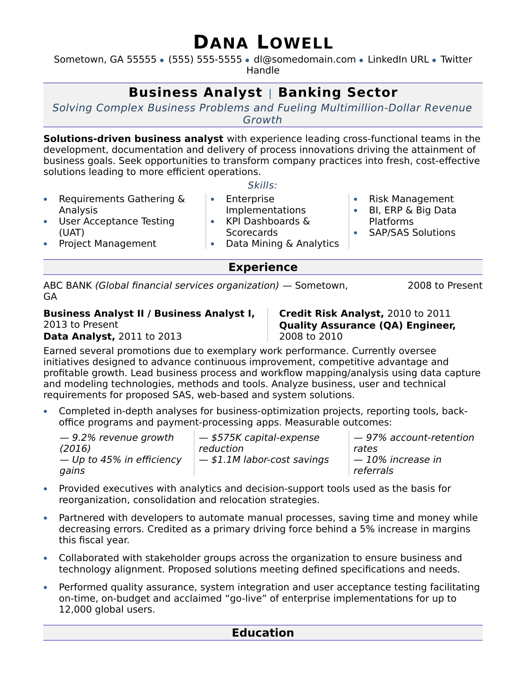 Businessyst Resume Sample