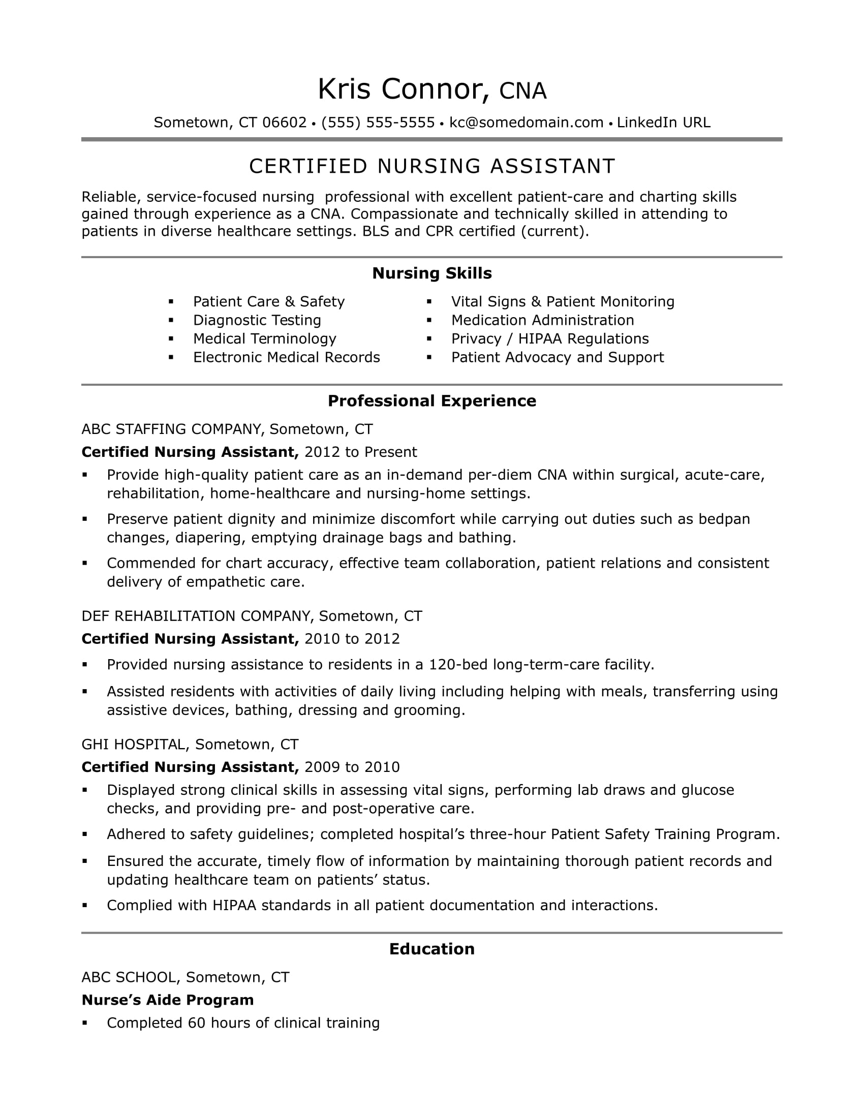 Cna Resume Examples Skills For Cnas Monster  Cna Experience Resume