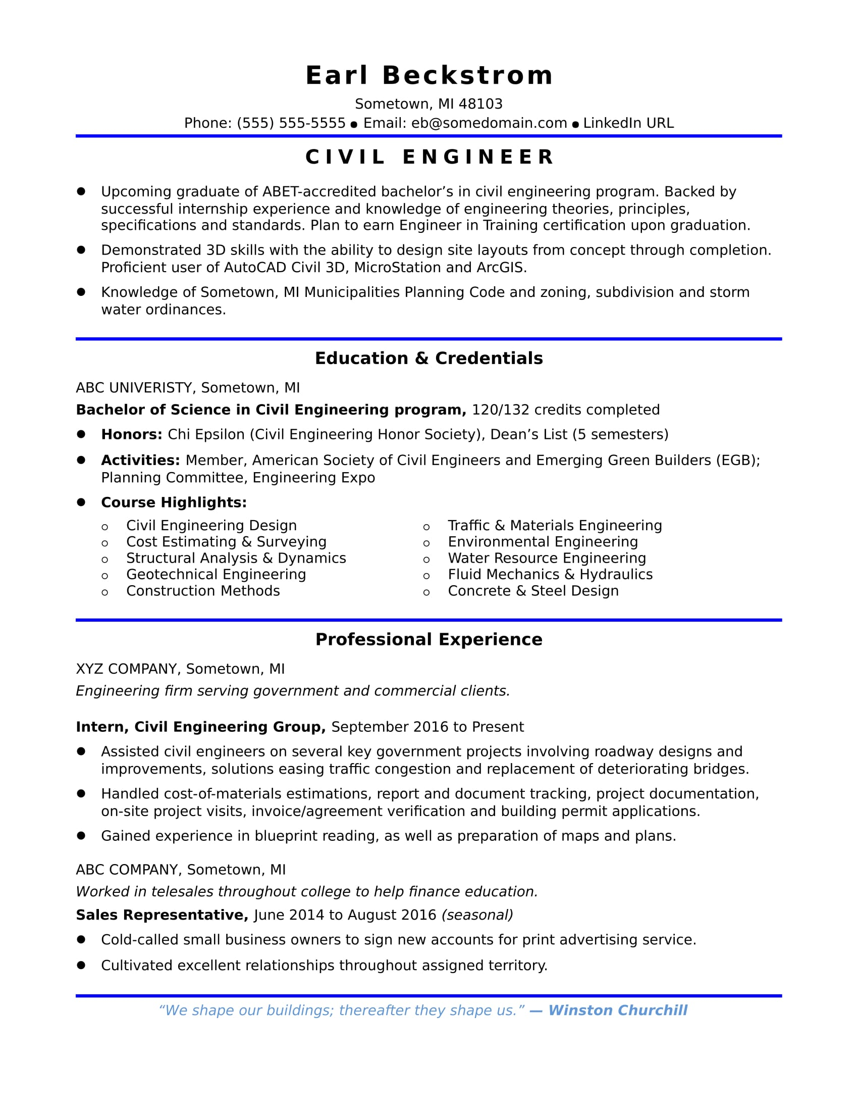 Sample Resume For An Entry Level Civil Engineer Monster