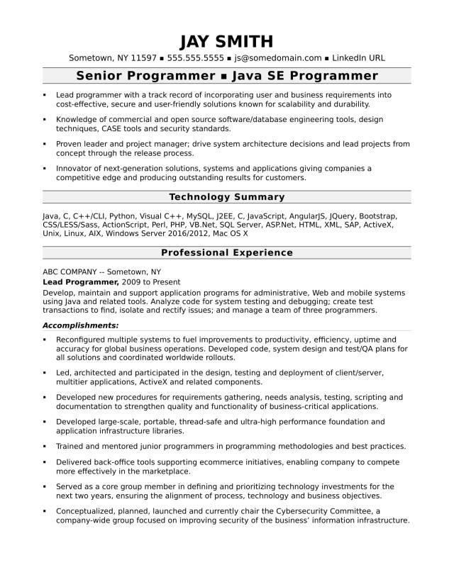 Programmer Resume Template  Monster.com