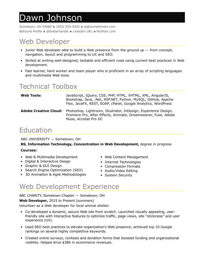 Junior Web Developer Resume