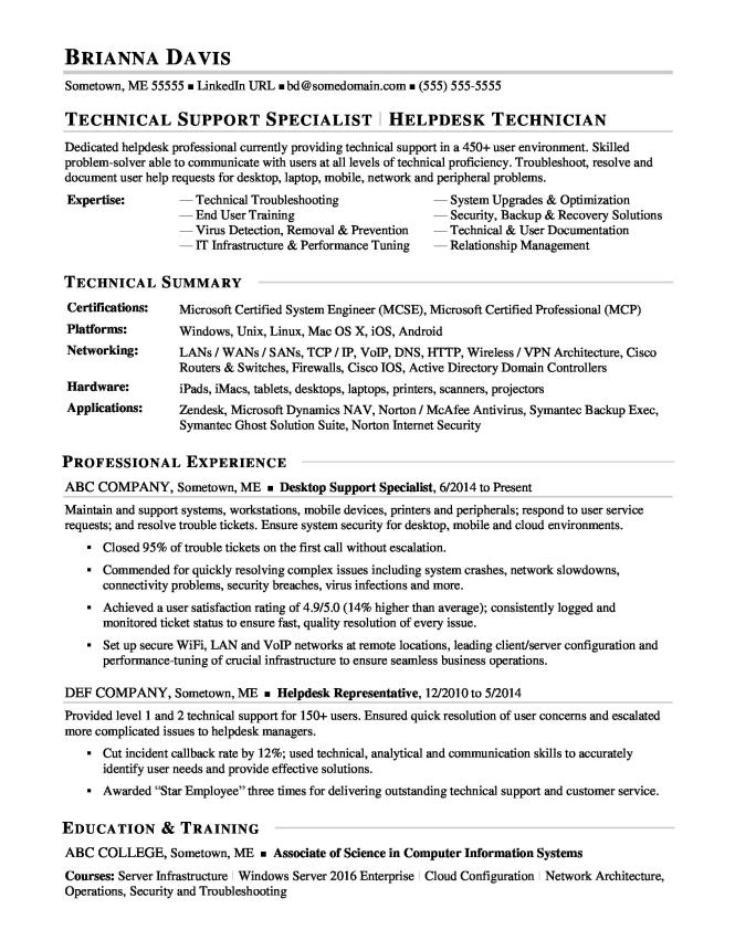 Help Desk Resume  Resume Sample