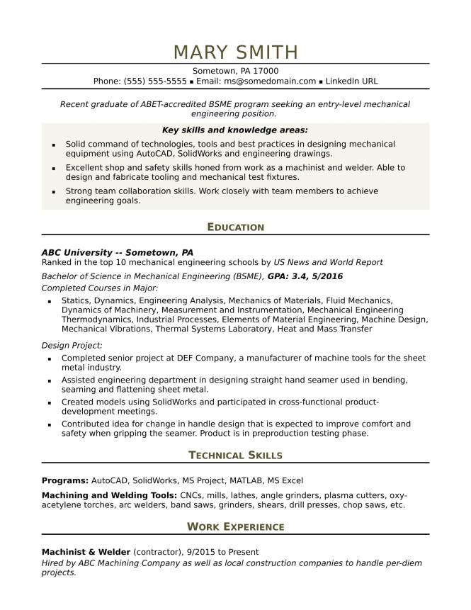 Resume Mechanical Engineer - Resume Sample