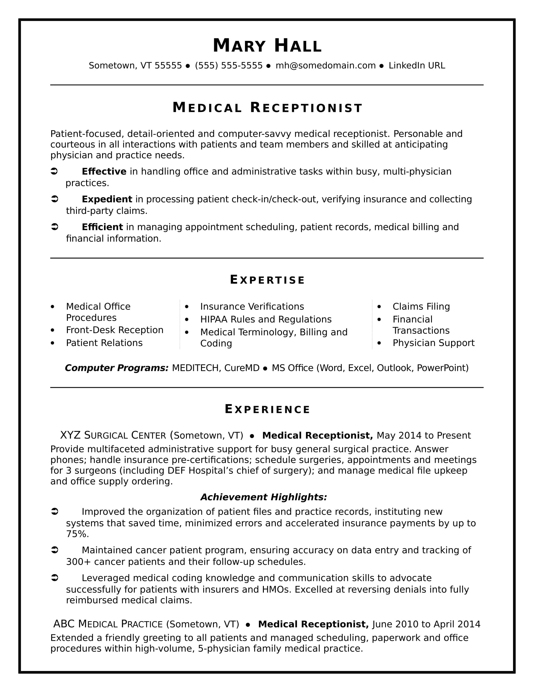 Medical Receptionist Resume Sample Monster  Medical Receptionist Resume Sample