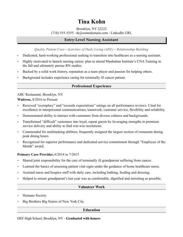 Nursing Assistant Resume Sample  Monster.com