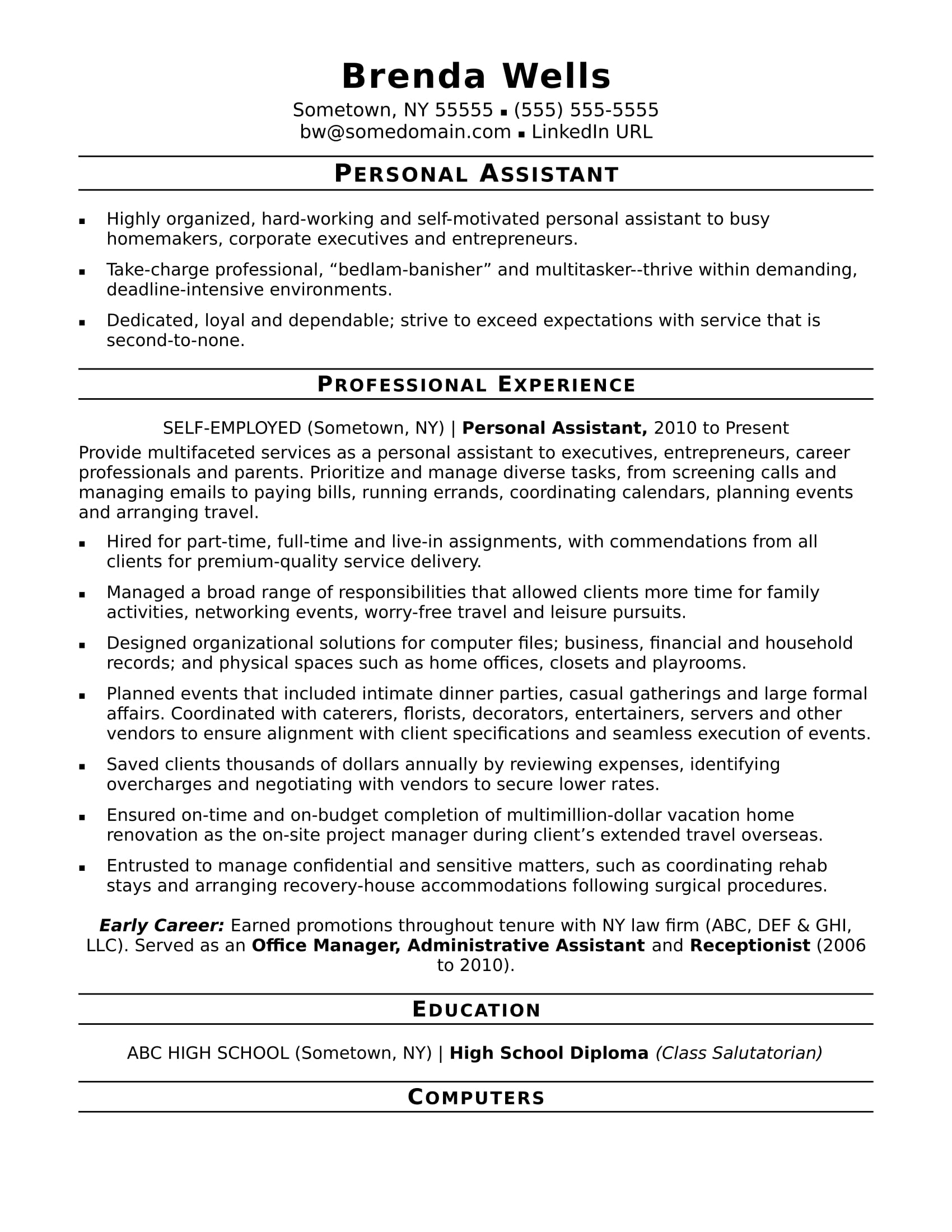 Sample Executive Assistant Resume Objective