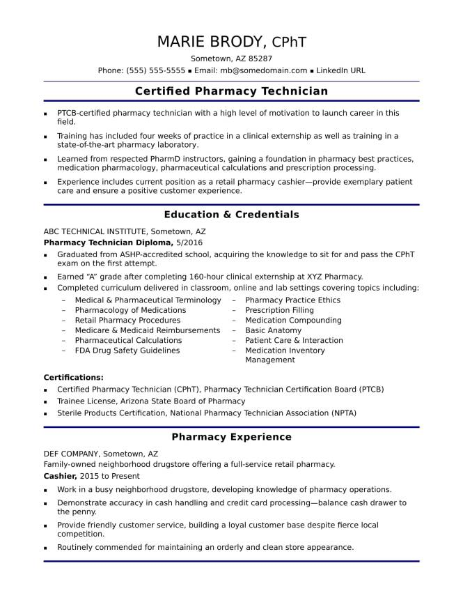 Pharmacy Tech Resume Template Resume Sample