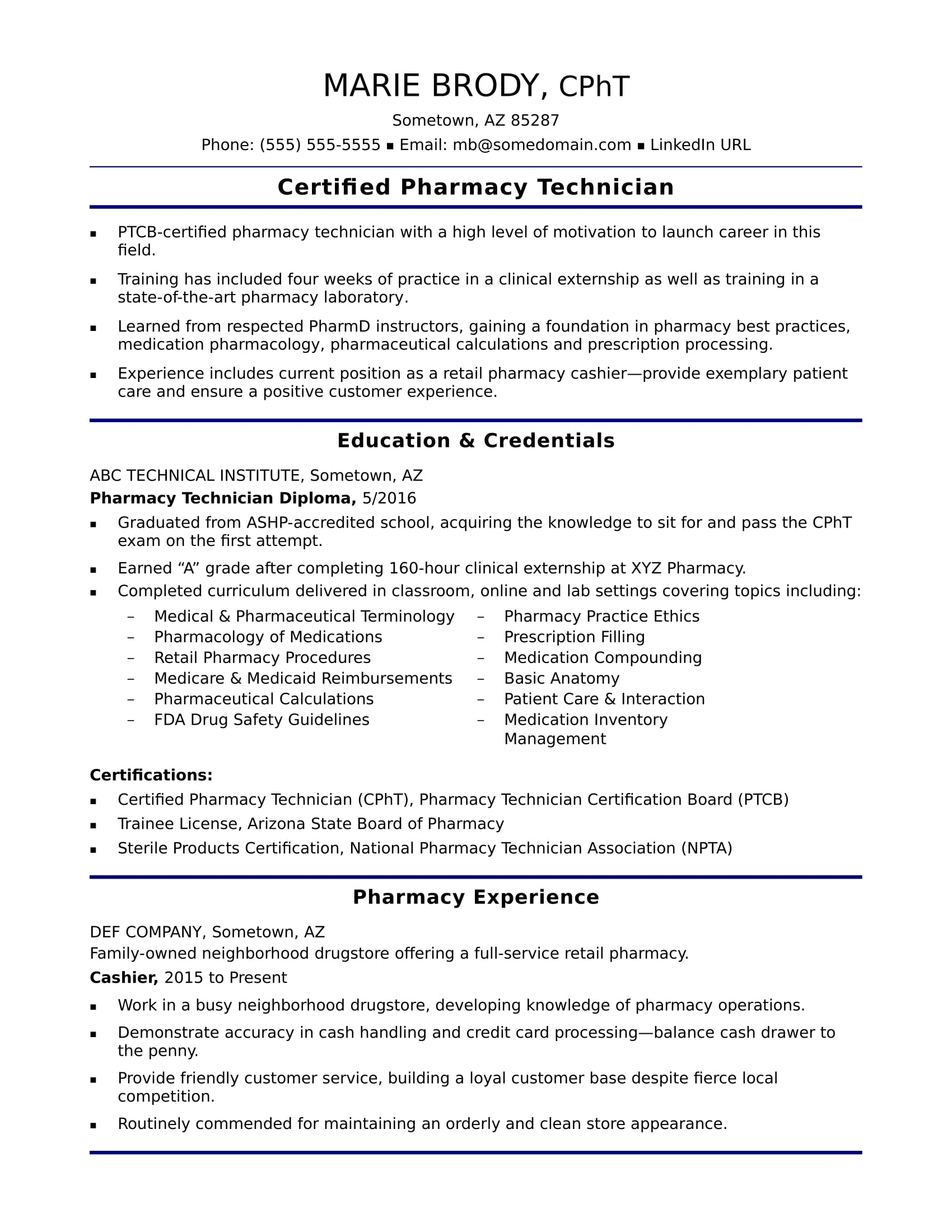 Entry Level Pharmacy Technician Resume Sample Monster  Pharmacy Technician Resume Example