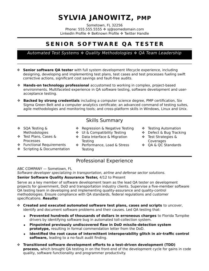 experienced qa tester resume sample monster - Etl Tester Resume