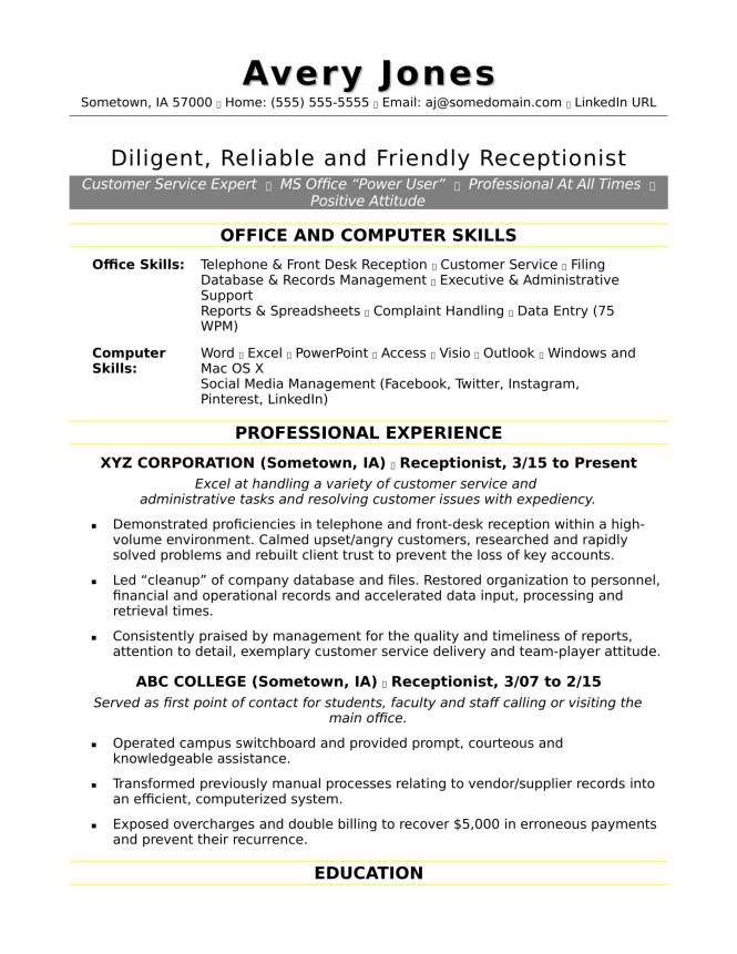 Receptionist Resumes  Resume Sample