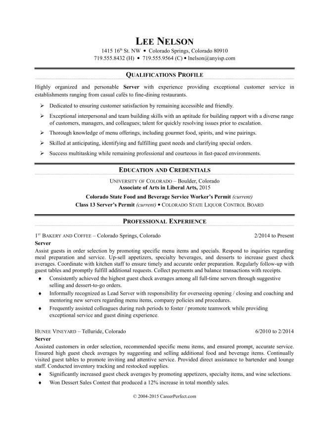Resume Examples For Restaurant Jobs Resume Sample
