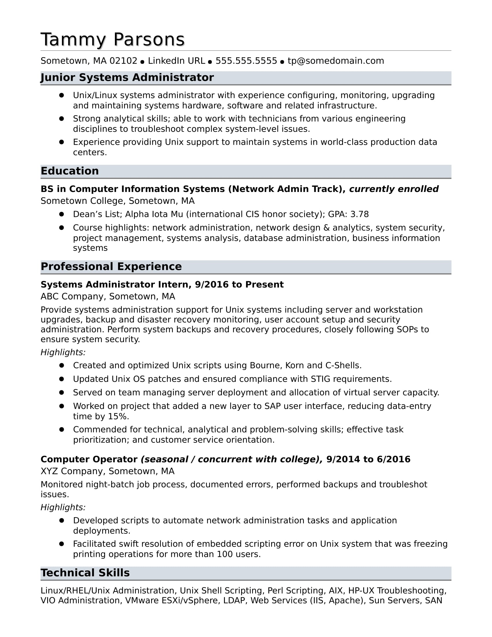 S Le Resume For An Entry Level Systems Administrator
