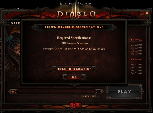 diablo3 system requirements
