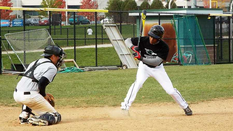 Kyndal+Pringle%2C+No.+46%2C+practices+his+batting+swing.+The+College+of+DuPage+baseball+team+has+been+preparing+for+their+spring+season+which+starts+in+February.