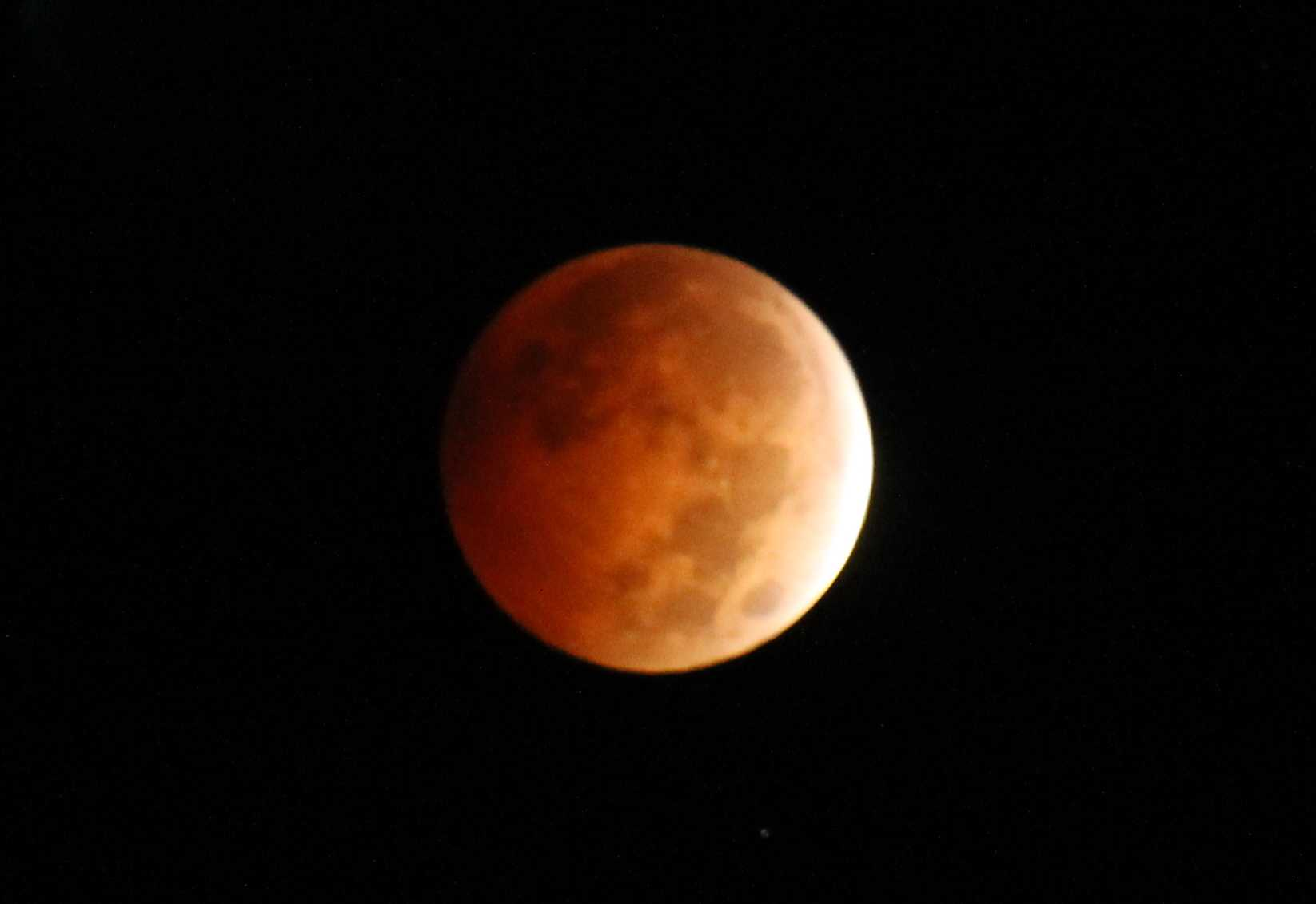 The College of DuPage Astronomy Club with instructor Joe DalSanto captured the total lunar eclipse on Oct. 8, 2014.