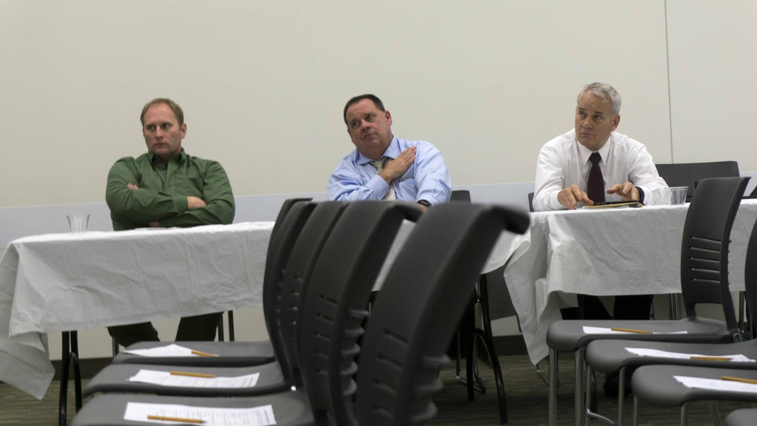 Injerd (first from right), listening to a member of the panel