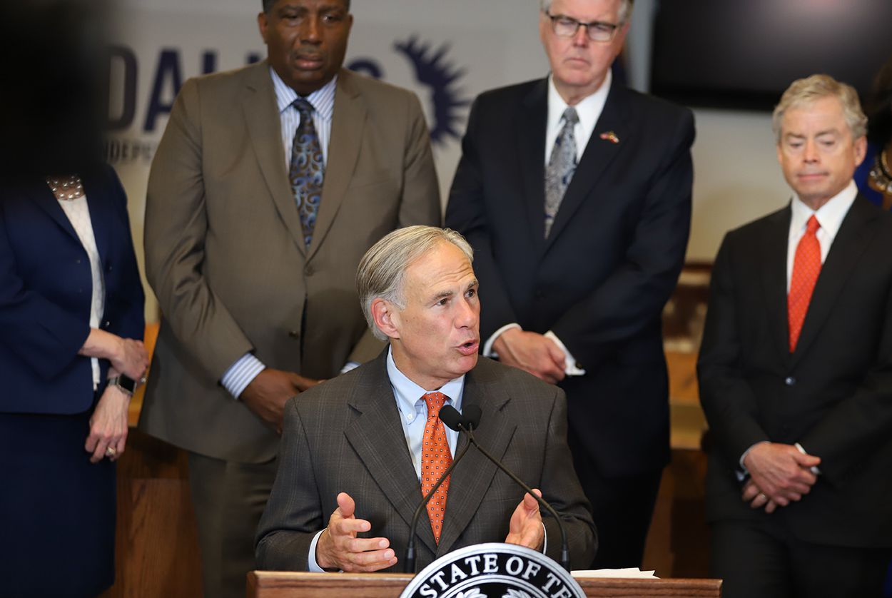 Gov. Greg Abbott announces new school safety measures in response to the Santa Fe High School shooting at the Dallas Independent School District headquarters on May 31, 2018.