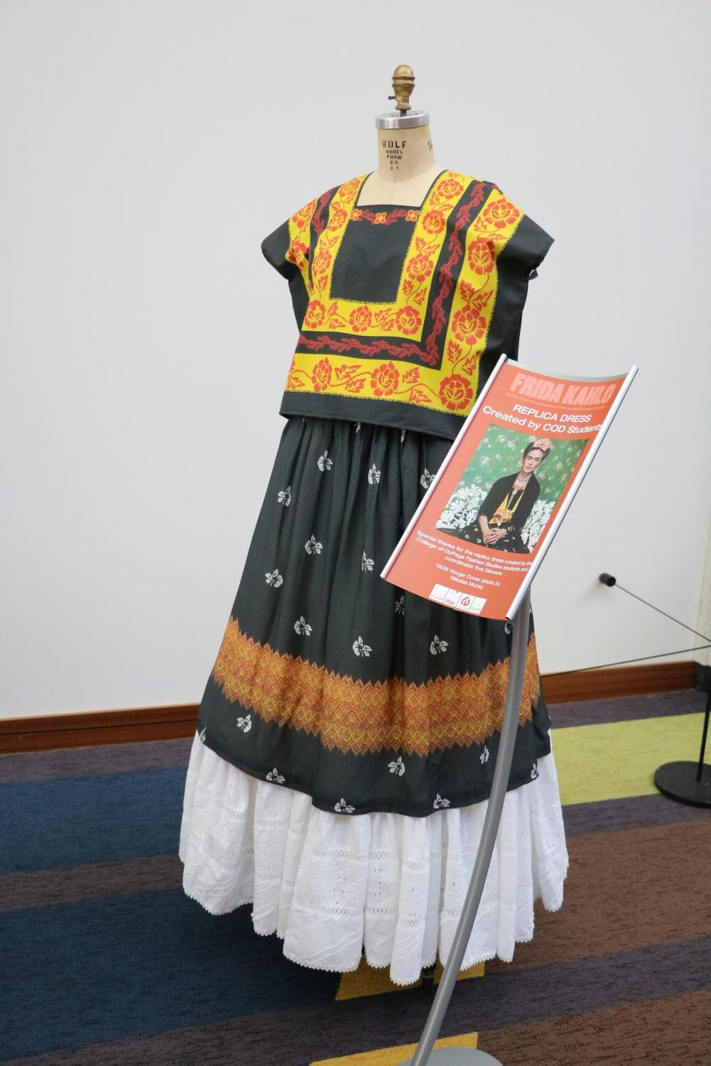 A replica of one of Frida Kahlo's iconic dresses, made by COD Fashion Studies Students.