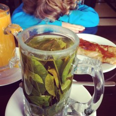 Our first taste of coca tea after 36 hours of travel. That's Judah in the back, he completely melted down