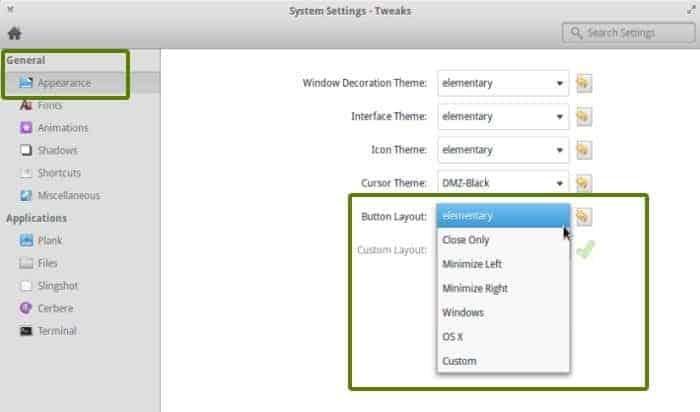 Butonul de minimizare Elementary OS