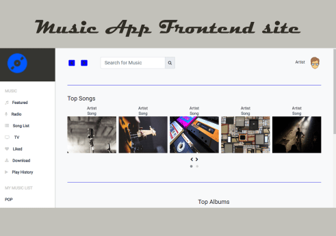 Music app frontend site in Bootstrap with Source code