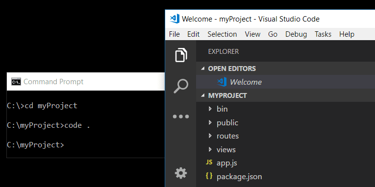 launch vscode using command line