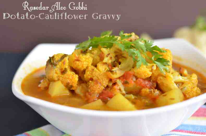 Rasedar aloo gobhi is very simple to cook and a one pot meal. You can cook it in a pressure cooker or instant pot or in kadhahi. Flavored with tomato and spices this gravy is rich as well as full of taste.
