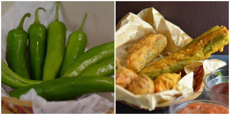 Bherwa Mirch ka pakora is stuffed green peppers with mashed potatoes filling with some aromatics spices, dipped in spicy besan (gram flour) batter and deep fried. It is a popular Rajasthani street foodknown as bherwa mirch vada too.