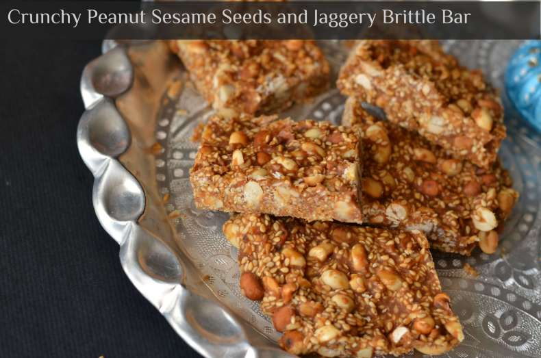 Til peanut chikki is very famous crunchy munchy snack in India during winters. Prepared with peanut, til and jaggery syrup, this is a great healthy and nutritious snack.