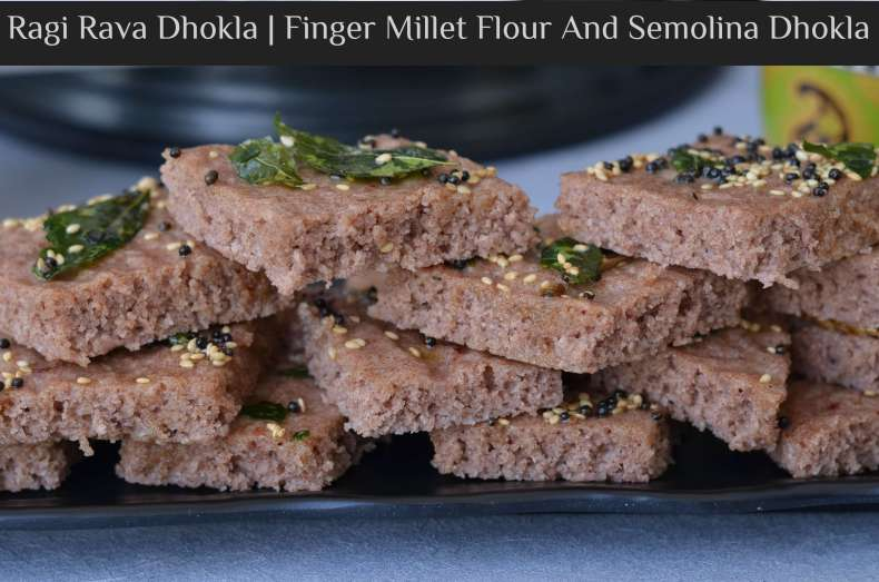 "Ragi is a rich source of fiber, calcium, and iron. When it is consumed it is considered to be a great food for weight control, diabetes and cooling the body. Ragi is also gluten-free and highly suitable for those who are lactose intolerant. Today I am showcasing a Gujarati snack ""Dhokla"" in a new avatar. Ragi dhokla, a very simple snack to make and oil free as it is steam cooked. So let us see how to make steamed Ragi Rava Dhokla."