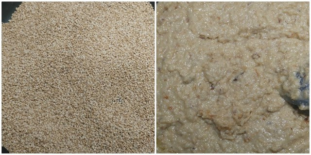 preparation of til khoya laddu. Dry roast the sesame seeds in left side click. On right side roasting khoya.