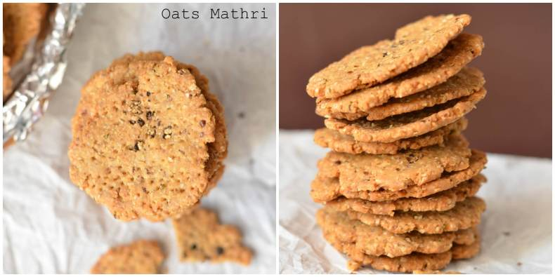 Oats flaxseeds mathri are a new healthy version of making traditional mathri/flat deep fried flatbread.  Both the ingredients are super nutrient with loads of health benefits. Oats flaxseeds mathri a great snack for weight conscious people.