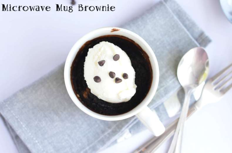 Microwave mug brownie is very simple and quick process to satiate your cravings for something sweet. A mug brownie or cake has everything like a normal brownie or cake only difference is the quantity which is sufficient enough to bake in a mug. Microwave mug brownie is very handy to prepare in few minutes including preparation.