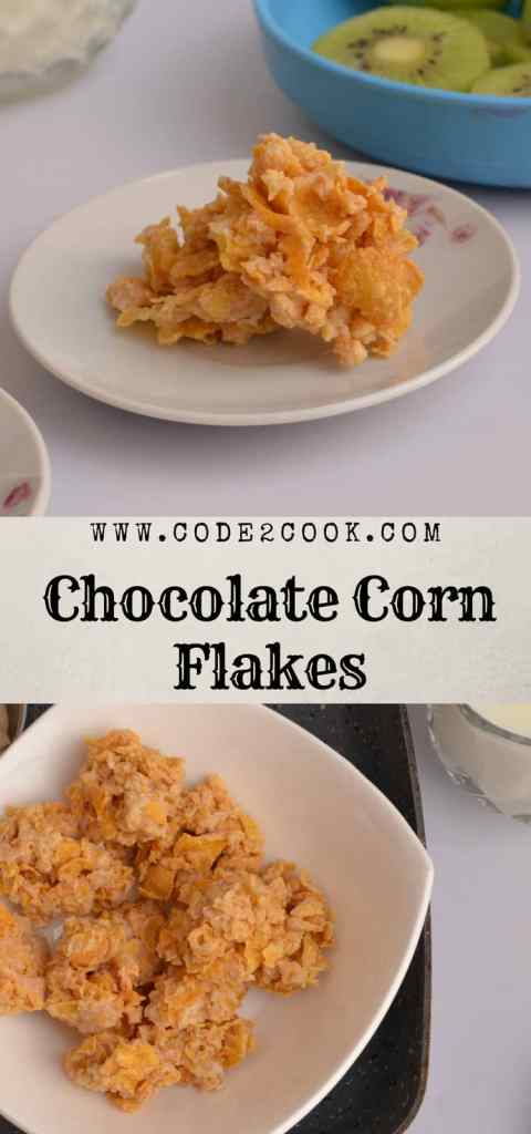Chocolate corn flakes are very easy to make and loved by kids. With just melted chocolate and readymade corn flakes, even kids can make them. If you run out of kids cereal then chocolate corn flakes come very handy. It is such a quick and easy recipe which require no baking. www.code2cook.com