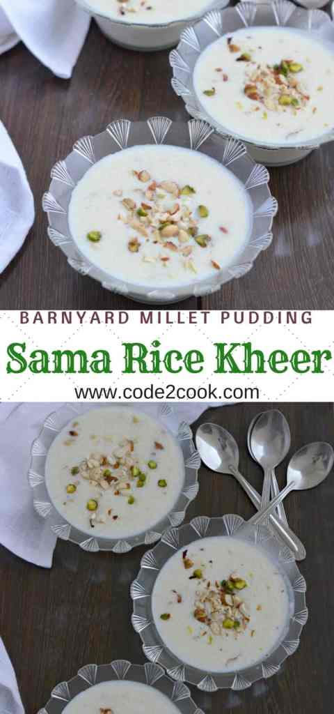 Sama rice kheer is usually prepared during fasting days, especiallyin Navratri. Mixing milk, sama rice, and sugar, cooked on medium heat and flavored with either cardamom or saffron, this sama rice kheer is tasty and very healthy.