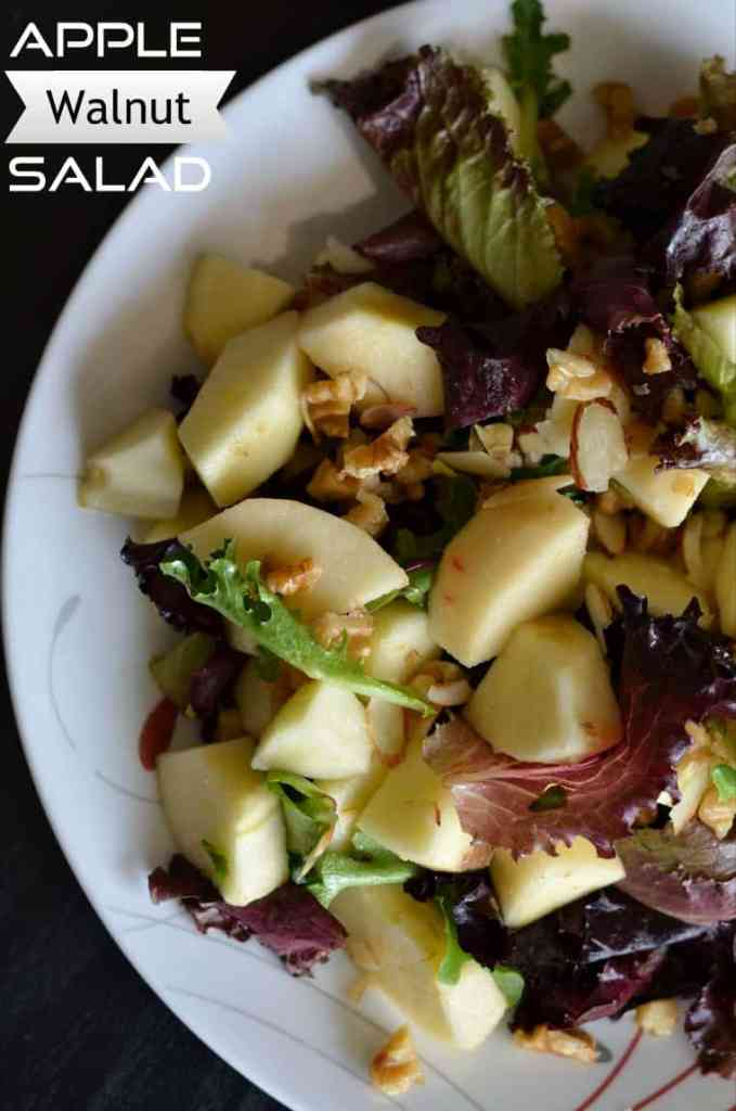 This apple walnut salad brings you sweet and tangy flavors with greens. Very simple and easy to make. Just add a dash of lemon, a little quantity of maple syrup with some salt and you are set to munch on this apple walnut salad.