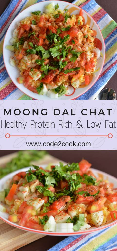 Moong dal chat is a north Indian recipe, a very healthy, tasty, and nutritious snack. Boiled moong dal mixed with chopped onion, tomatoes, cucumber, drizzle with lemon juice and sprinkling chat masala is all you need to prepare this snack in few minutes.This moong dal salad is packed with protein, calcium, and fiber.