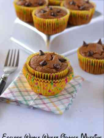 These eggless whole wheat orange muffins are citrus flavored, soft and spongy. Few choco chips sprinkled on top makes them taste awesome with chocolate.