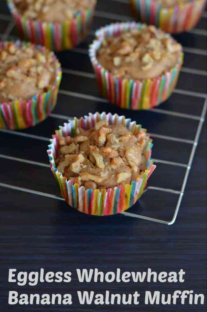 These banana muffins are made of whole wheat flour and eggless. Soft and moist, few melted choco chips inside and outside you can hear crunchy walnuts sound. Eggless whole wheat banana walnut muffin is very easy and gets ready in just 20minutes.