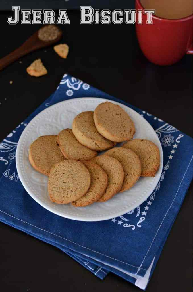 Jeera biscuit or cumin cookies are crunchy, sweet and salty at the same time. Made with whole wheat flour makes them healthier with my evening tea.