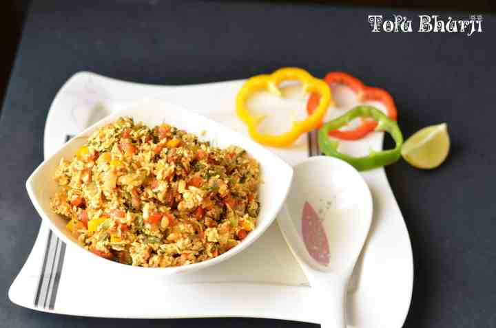 Tofu bhurji is a vegan dish, those who are lactose intolerant can try this bhurji which is equally tasty. Sauteed tofu with bell peppers, tomato, onion and few spices is a perfect protein-rich dish.