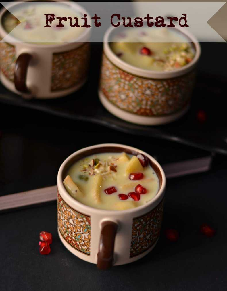 Fruit custard is a dessert prepared with custard sauce and adding fresh sweet taste fruits. This is the simplest dessert which is tasty, creamy and gets ready in just a few minutes. Fruit custard is also known as fruit salad with custard, loved by all age groups and a perfect dessert for the party.