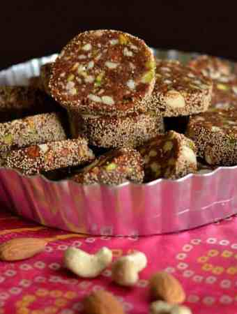 Khajur burfi or dates rolls are filled with dry fruits which are soft in texture and chewy in nature.Dates n nuts rolls can be made for any festive occasions like Diwali Holi Eid or any time during the year