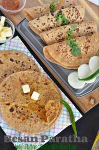 Besan paratha or masala besan paratha is a wonderful Rajasthani paratha recipe which is prepared by stuffing spicy besan or gram flour filling in thewhole wheat dough. This paratha is crispy, aromatic and filled with the pickled flavor besan stuffing makes a wholesome meal.
